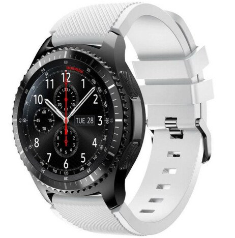 Curea ceas Smartwatch Samsung Gear S3, iUni 22 mm Silicon White